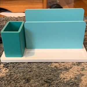 teal and white desk organizer!